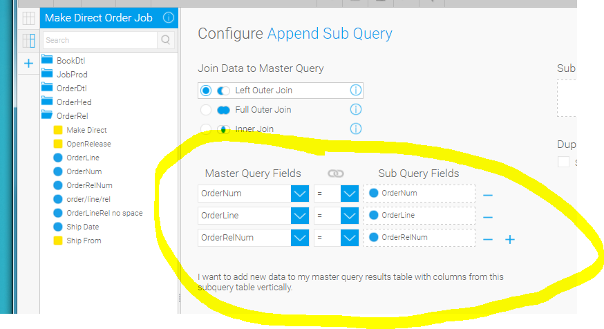 how do you link multiple fields in a minus or intersect sub