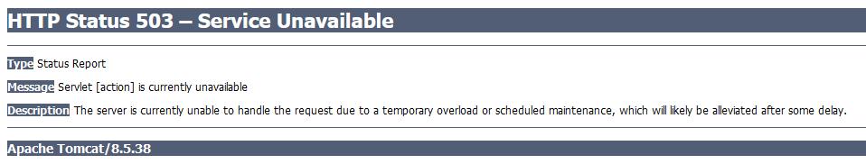 Tomcat 503 service unavailable